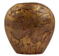 Carved Birds Unique Shape Brass Vase Flower Holder