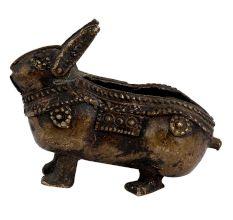 Tribal Brass Rabbit Ashtray