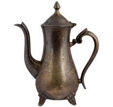 Brass Tea Coffee Pot With Engraved Floral Design