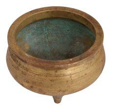 Brass Round Brass Planter Pot On Three Legs