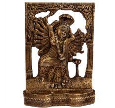Brass Goddess Laxmi Statue 18 Hands Cobra Head Decorative Prabhavali
