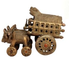Brass Vintage Bullock Cart Statue  Home Decoration
