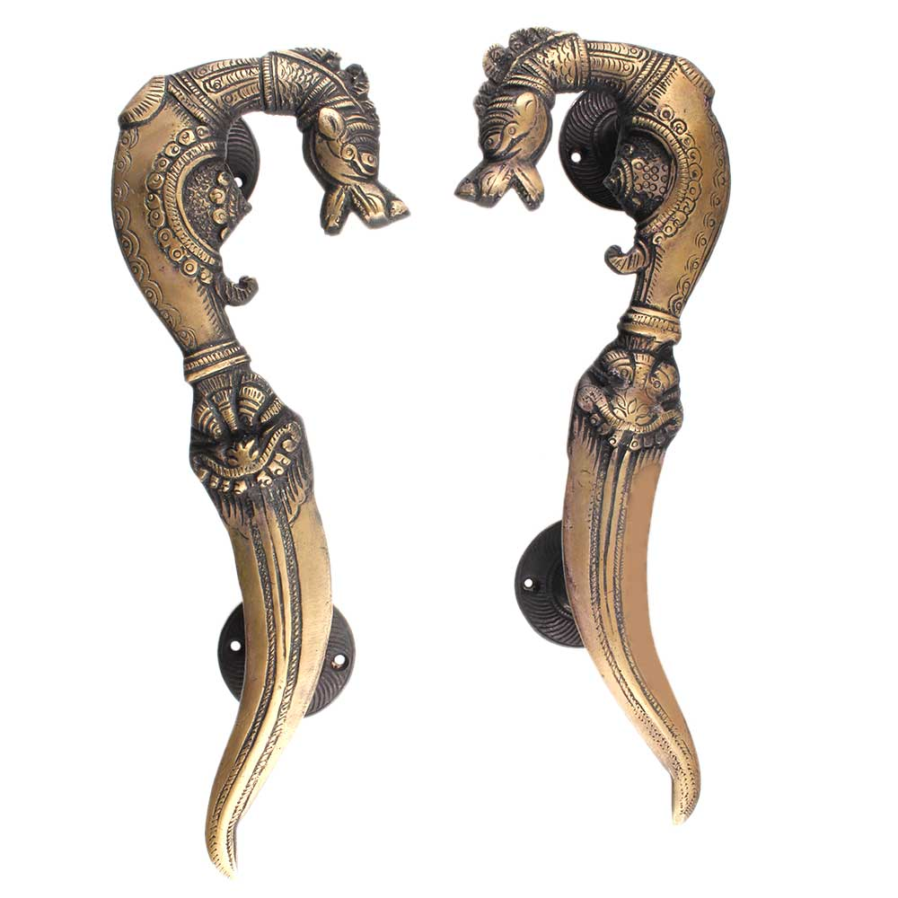 Brass Vintage Door handle Horse Head Sword End Design