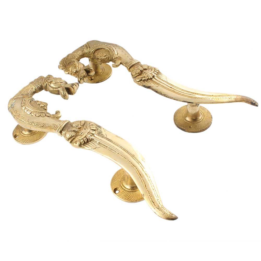 Handmade Golden Brass Door handle Horse Head Sword End Design