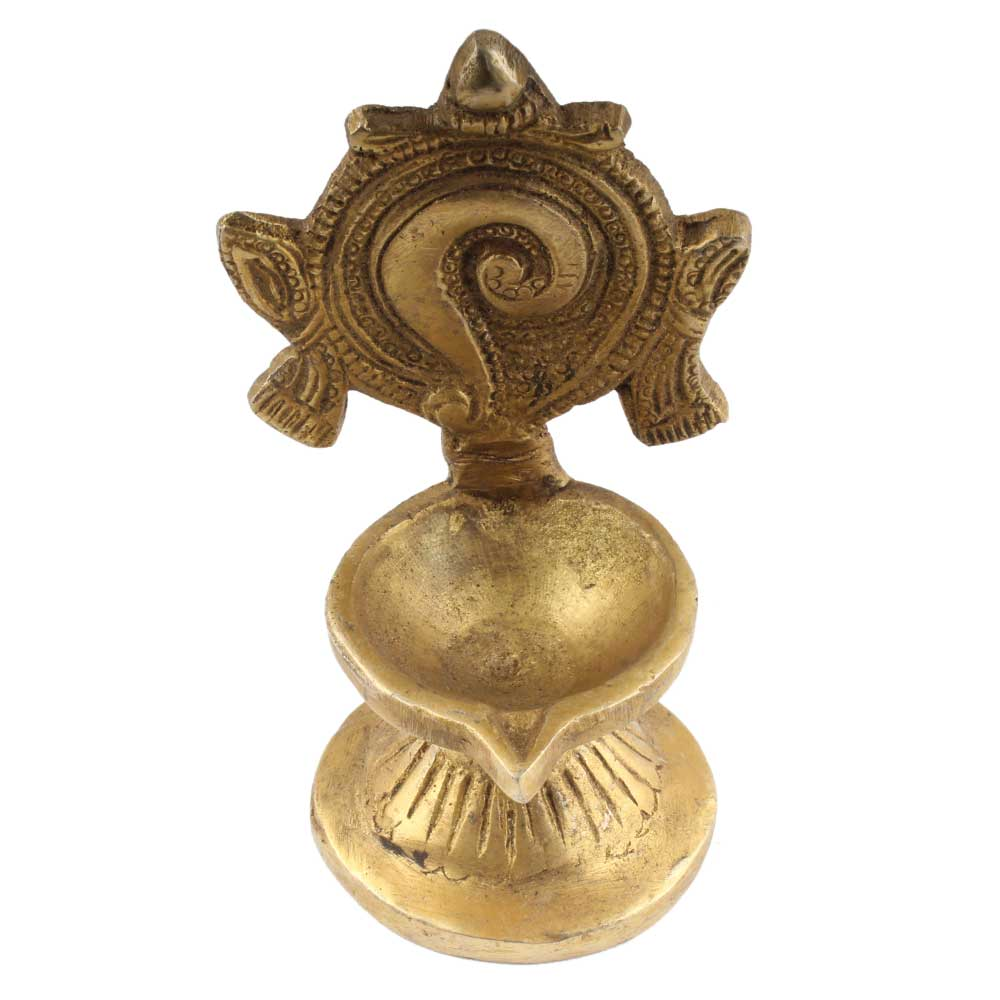 Religious Shankha Chakra Design Oil Lamp Diya