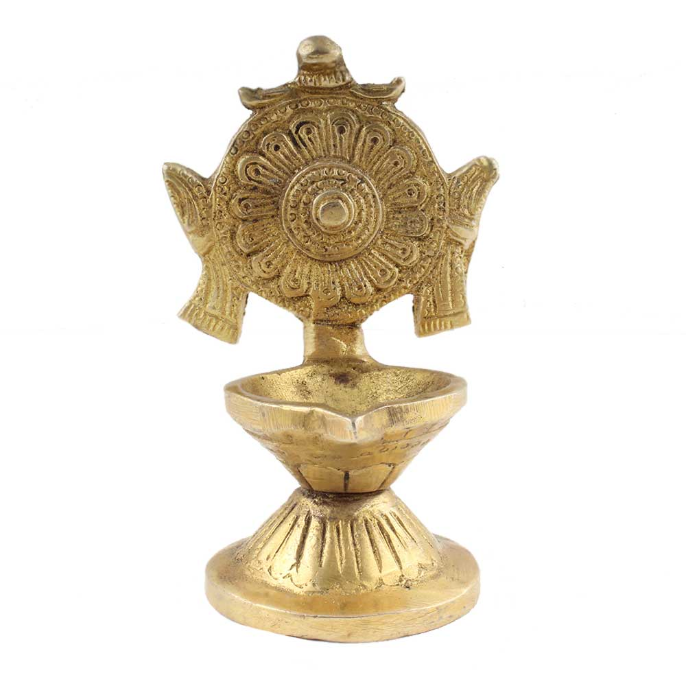 Religious Big Flower Carved Design Oil Lamp Diya