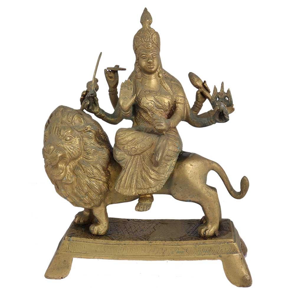 Brass Maa Durga On Lion Home Worship Statue