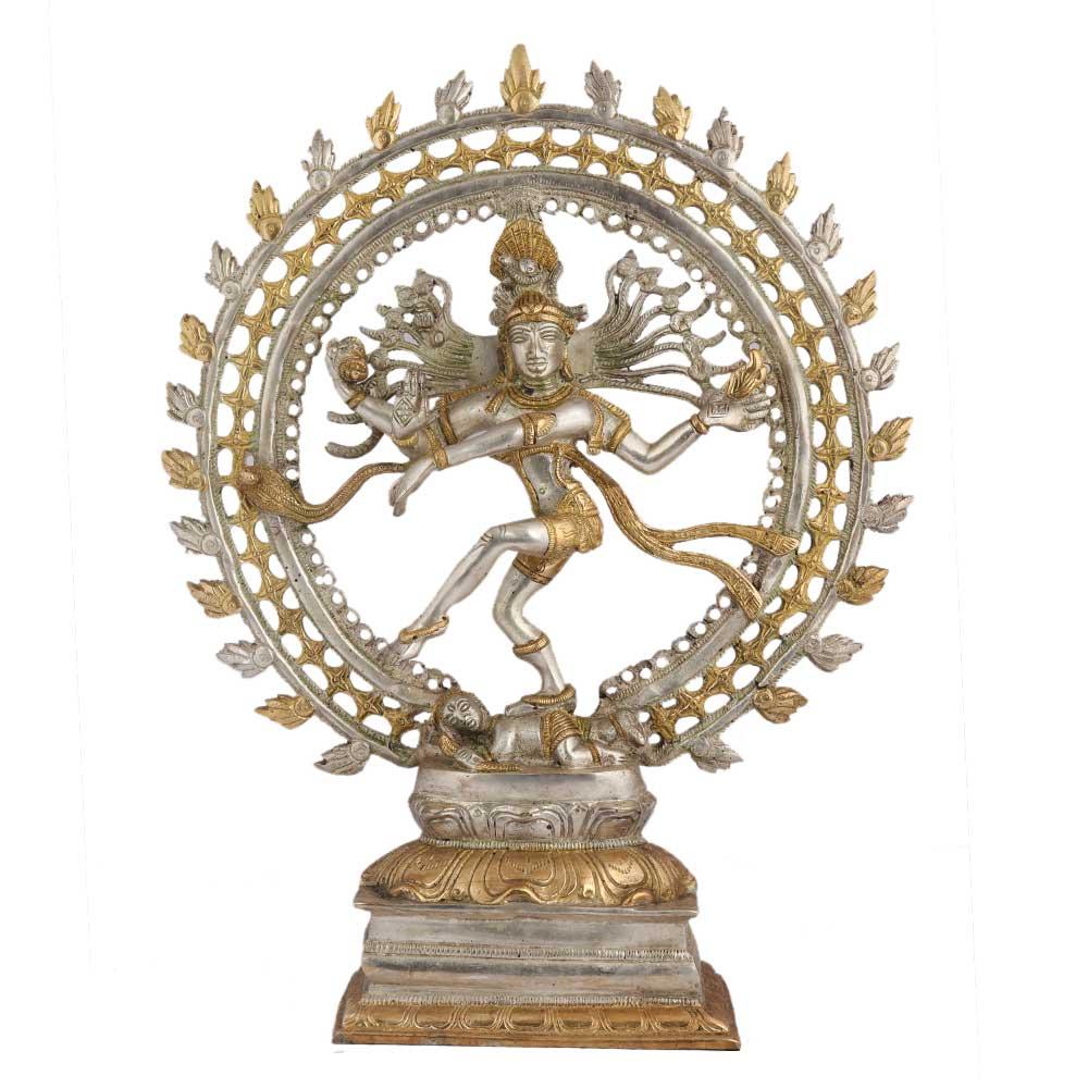 Brass Natraja Statue In Silver Golden Finish