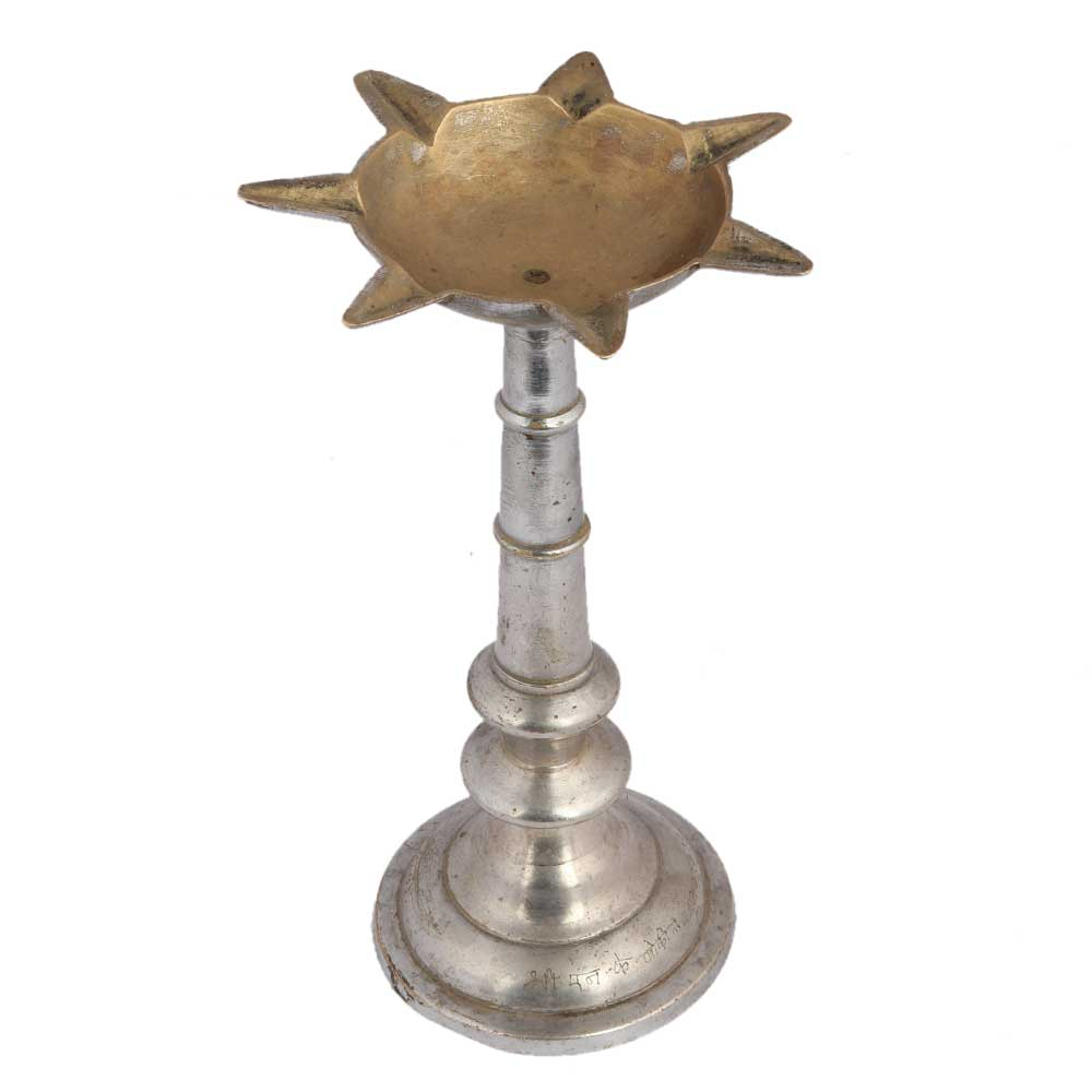 Brass Long Seven Wicks Oil Lamp With Silver Finish