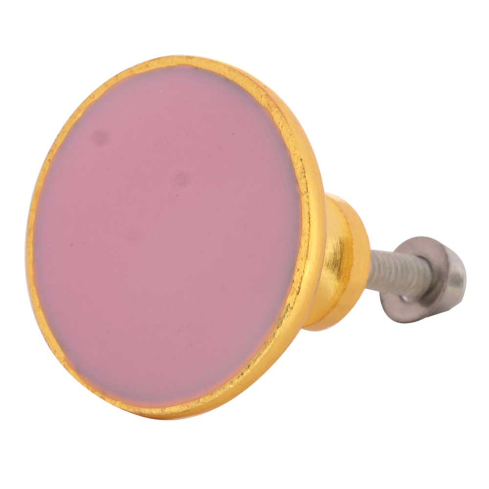 Pink Round Metal and Resin Cabinet Knobs