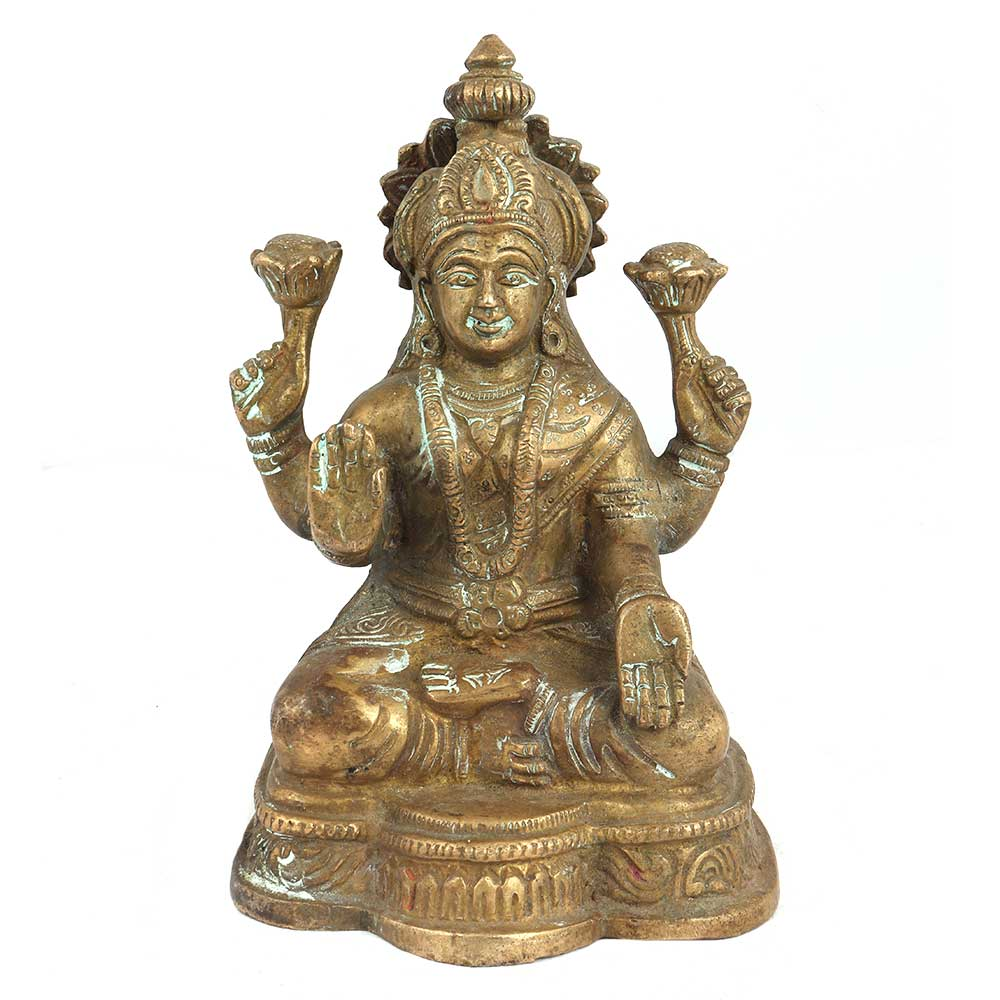 Hand Made Brass Goddess Laxmi Statue Four Hands On A Lotus Base