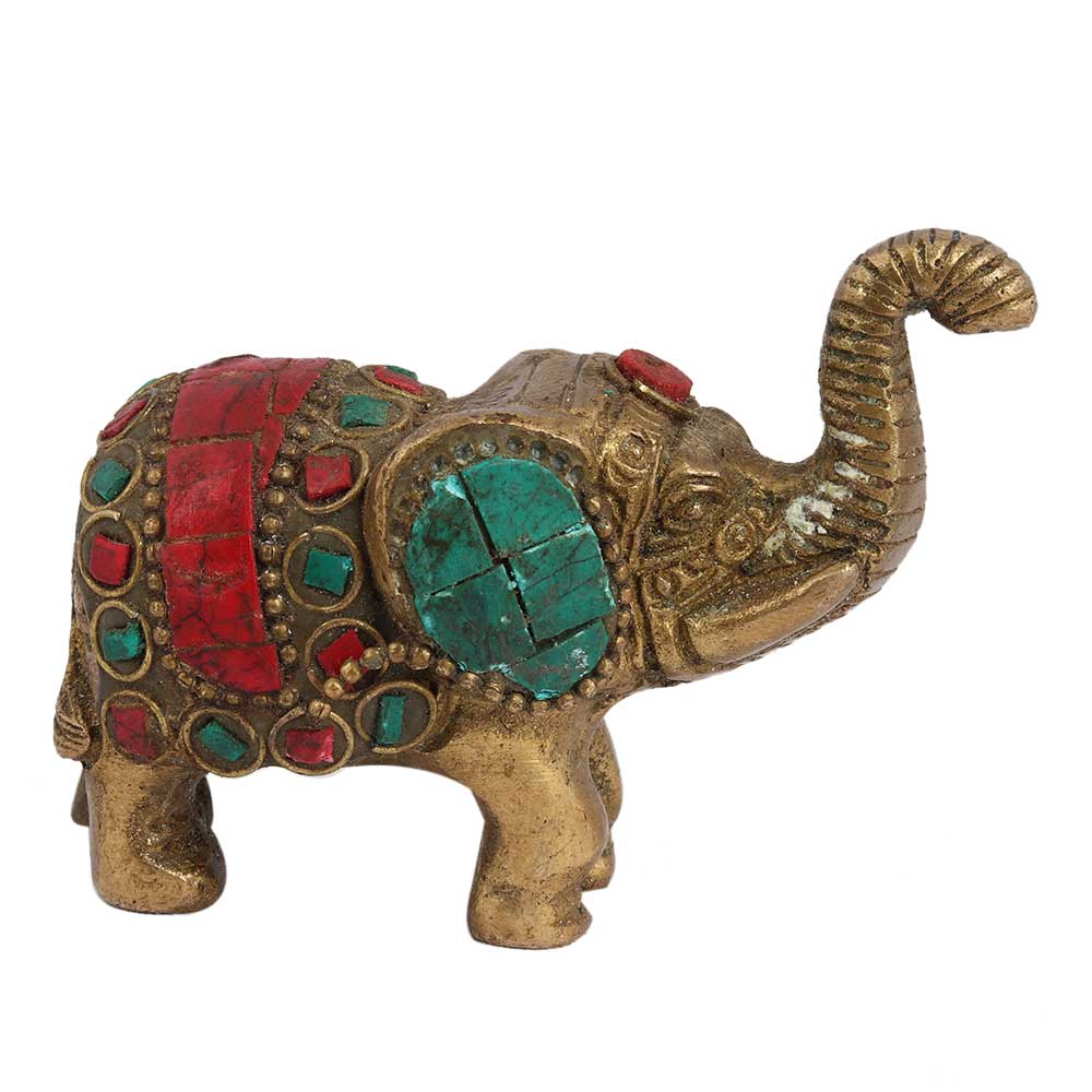 Handpainted Brass Elephant Artifact For Decoration