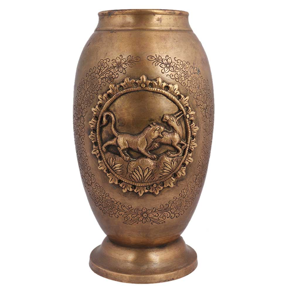 Brass Planter Pot Carved Lion Hunting Deer And Floral Design