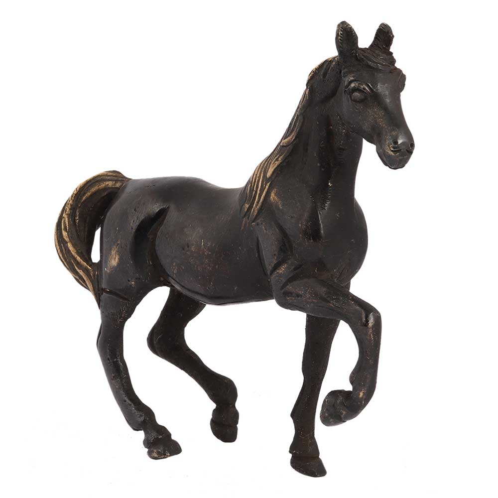 Brass Galloping Horse Statue In Black Finish