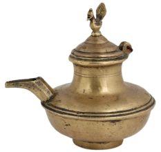 Brass Oil Pot Water Pot With Bird Finial On Lid