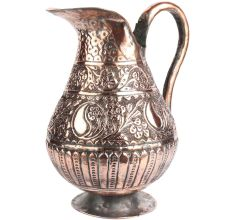 Ornate Copper Jug With Engraved Floral Motifs Curved Handle
