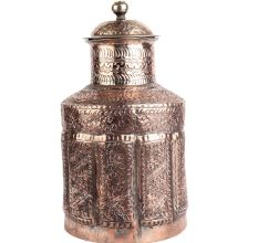 Hand Carved Floral Motifs Copper Jar with Lid