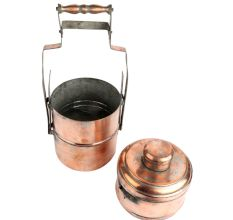 Handcrafted Copper Three Tier Lunch Box With Lid