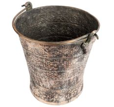 Hand crafted Copper Bucket Kashmiri Repousse Work With Handle
