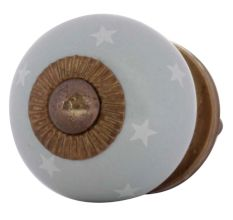 Light Grey White Tiny Star Pattern Cabinet Knobs