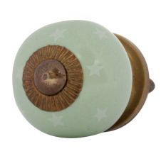 Sage Green White Tiny Star Pattern Cabinet Knobs