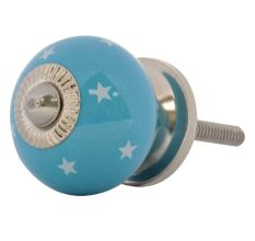 Turquoise White Tiny Star Pattern Cabinet Knobs