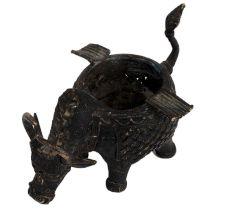 Brass Tribal Bull Planter Pot