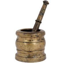 Brass Khal Batta Mortar And Pestle Set