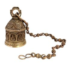 Brass Temple God Images Embossed  Hanging Bell with Chain
