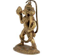 Handmade Brass Hanuman Statue With Sanjeevni In Hand