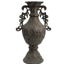 Black Brass Urn Shaped Vase With Decorative Handles