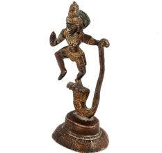 Brass Statue Of Lord Krishna On Serpent Kalia With Gold Finish