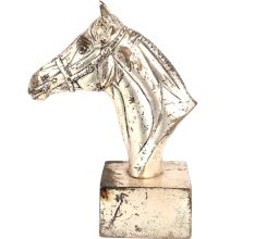 Golden Brass Horse Head Bookend Statue