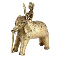 Tribal Brass Elephant Rider Handcrafted Statue