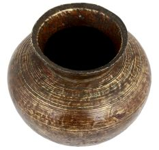 Old Brass Pot With Faded Design Collectors Choice