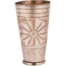 Brass Floral Design Handmade Brass Lassi Glass