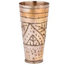 Brass Glass Carved Leaves In Geometric Design Punjabi