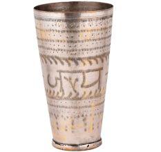 Brass Lassi Glass Jai Hind And Decorative Rim Border