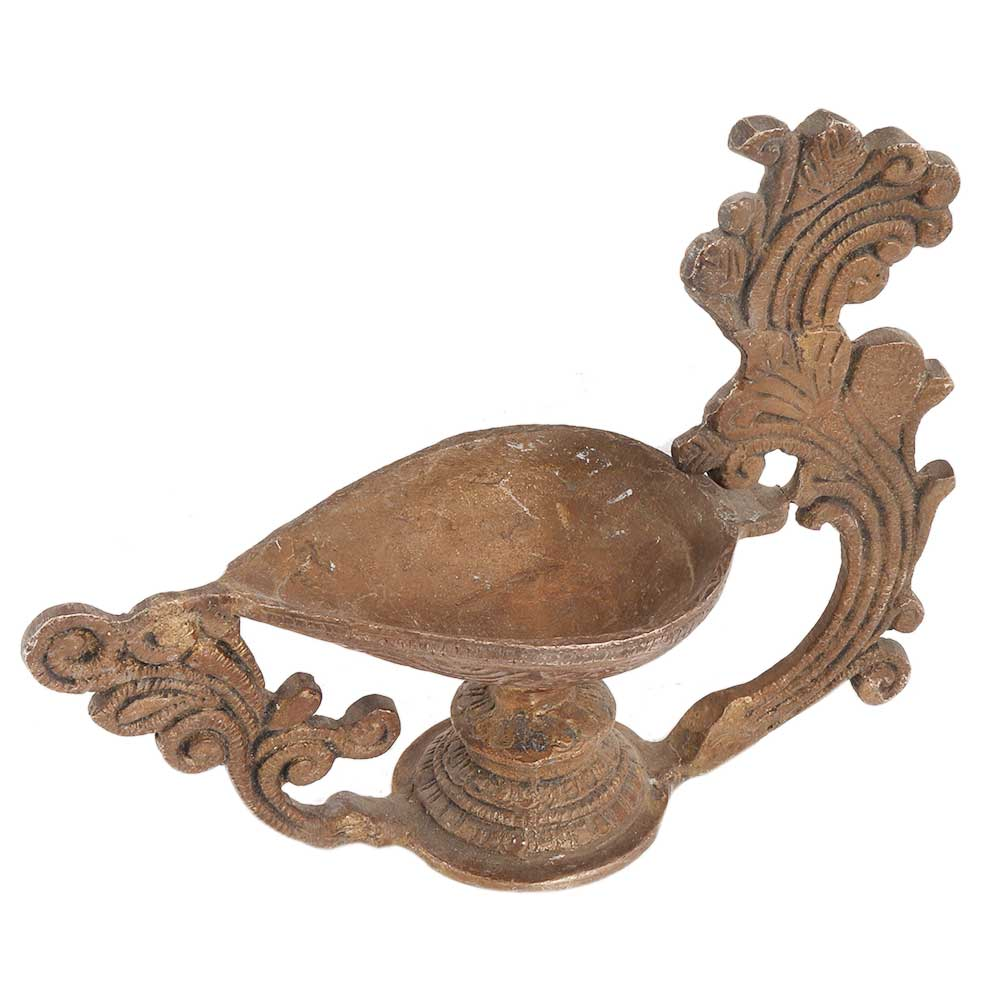 Brass Peacock Diya Pooja Decoration