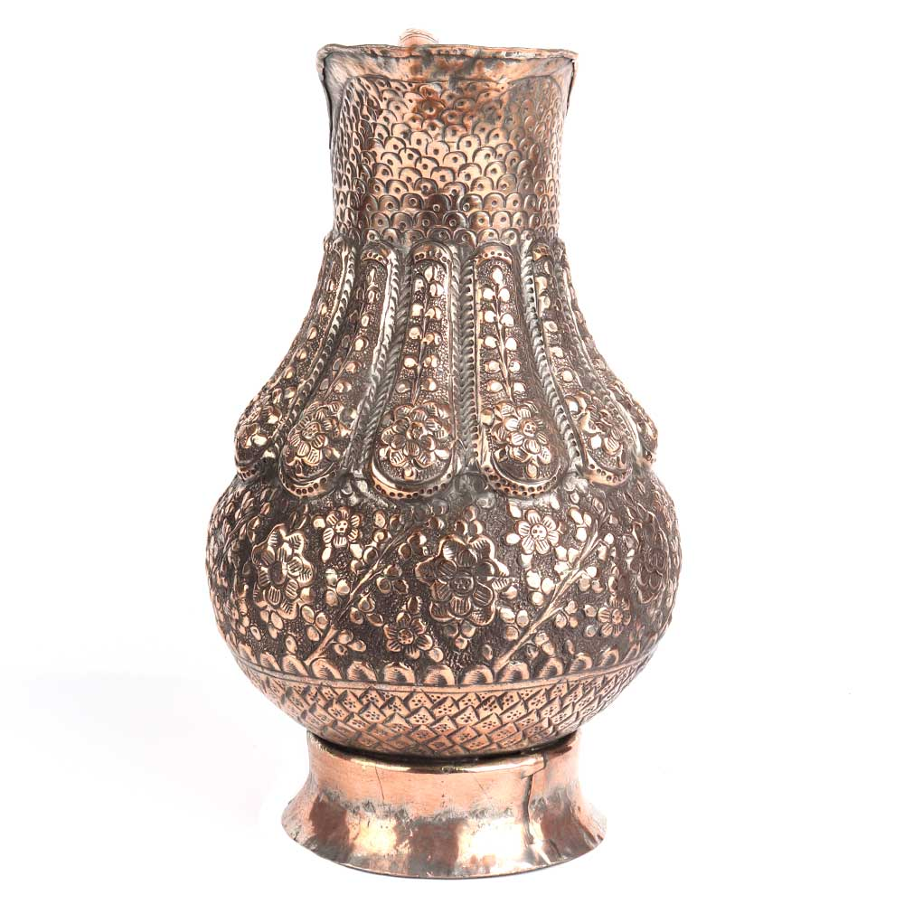 Islamic Copper Jug With Repousse Floral Pattern