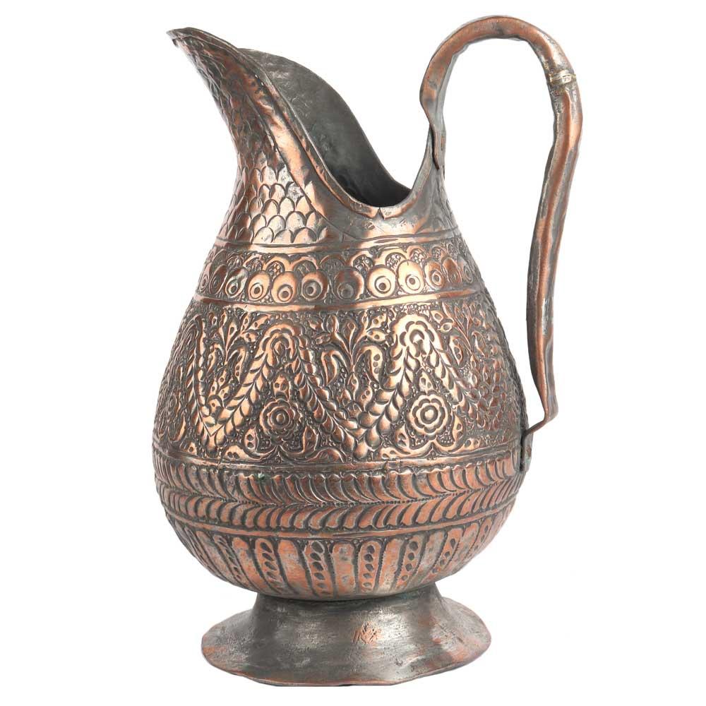 Handmade Copper Vintage Floral Engraved Jug