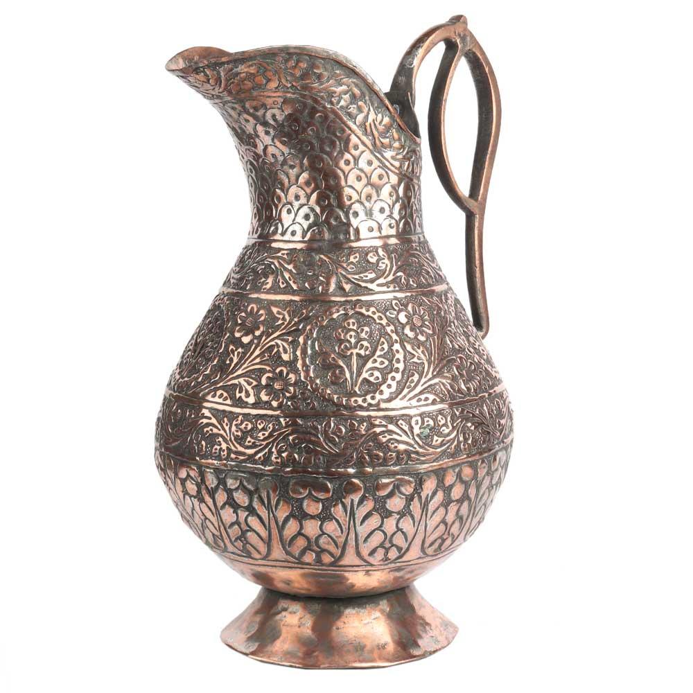 Hand Carved Copper Floral Design Water Jug