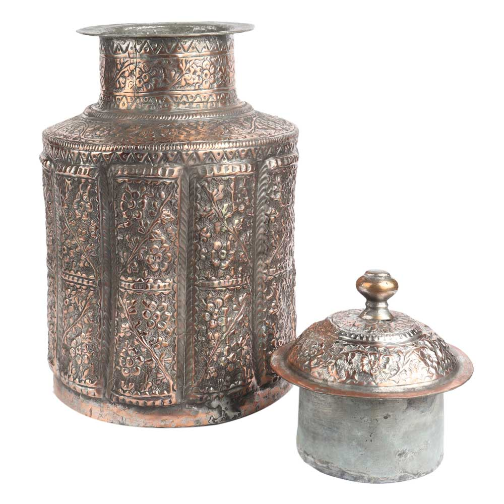 Etched Copper Jar Repouse Floral Motifs Lidded Canister