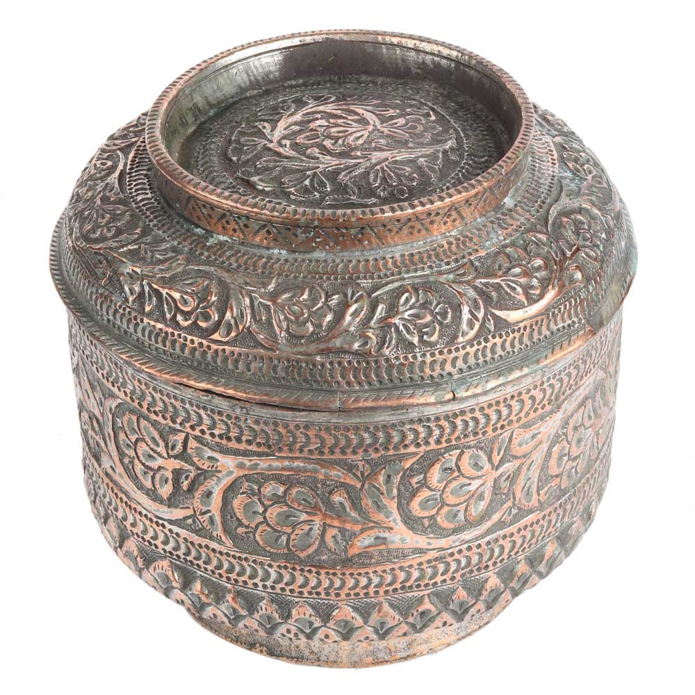 Cylindrical Repousse Copper Jar Canister With Lid