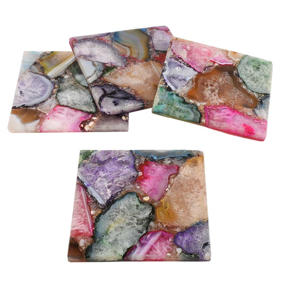 Multicolor Square Agate Coasters Set of 4 Pieces