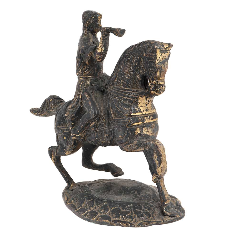 Brass Soilder Statue Riding Horse and Blowing Trumpet