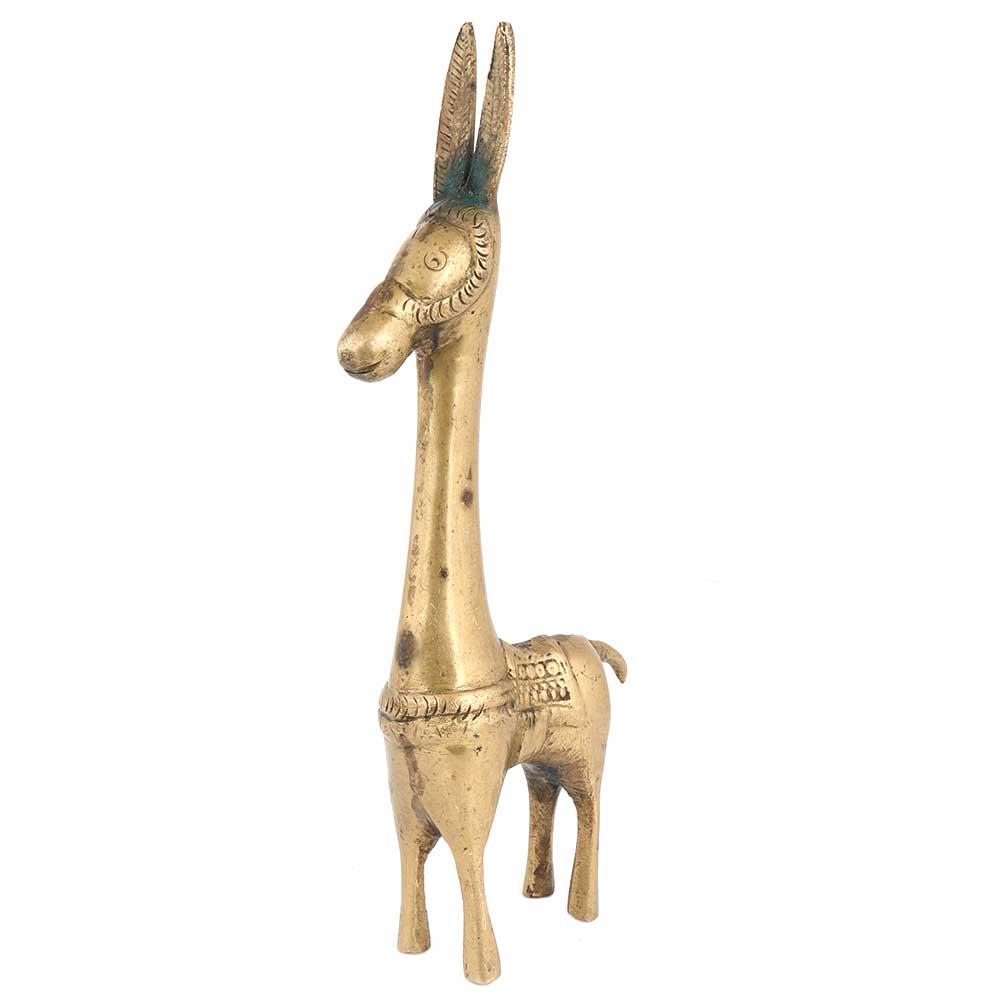 Golden Brass Tribal Horse Statue