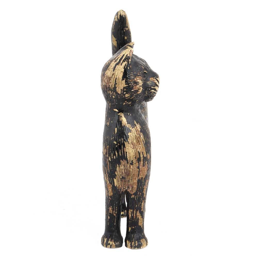 Black Cat In Brass Figurine Statue With Golden Decoration