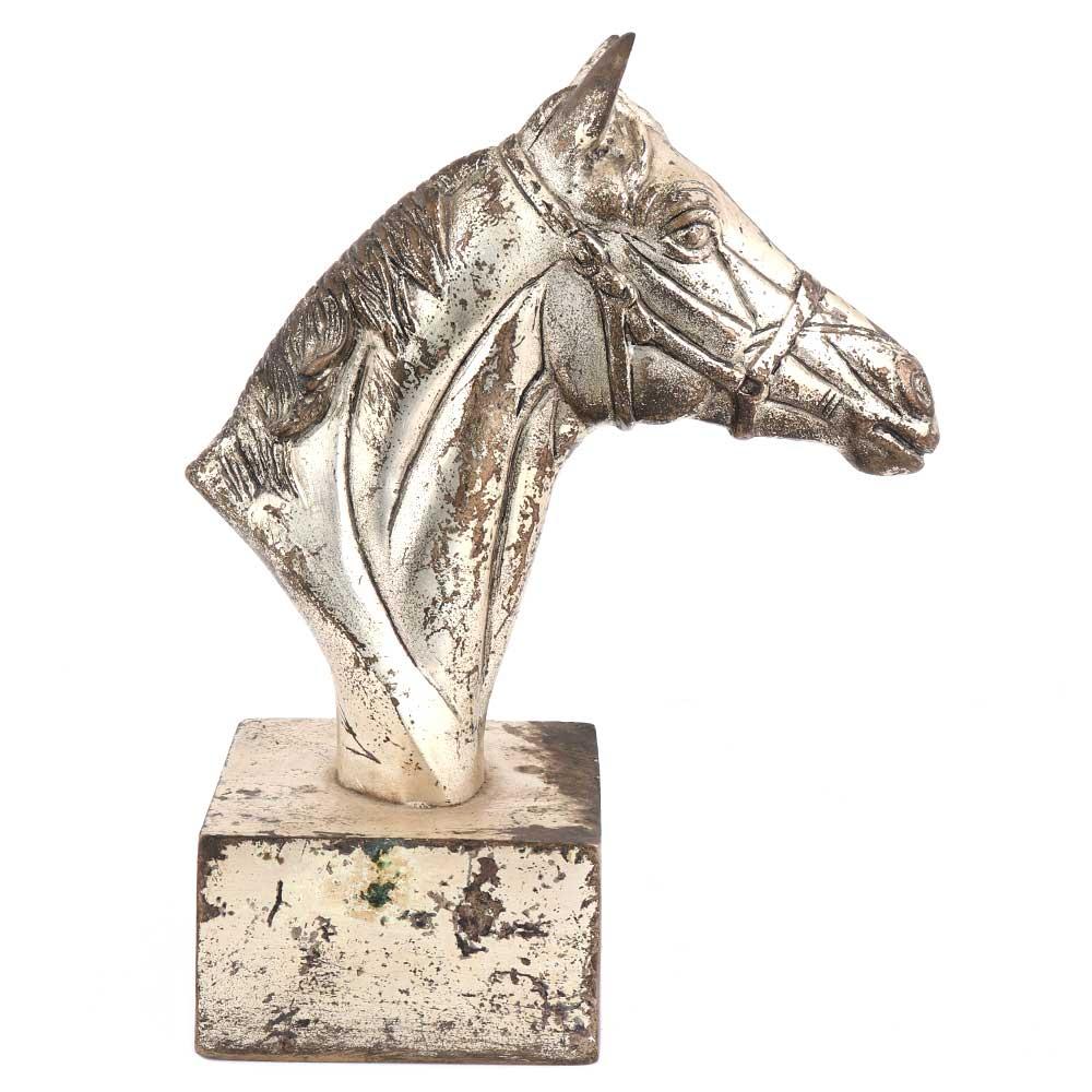 Golden Brass Horse Head Bookend Statue
