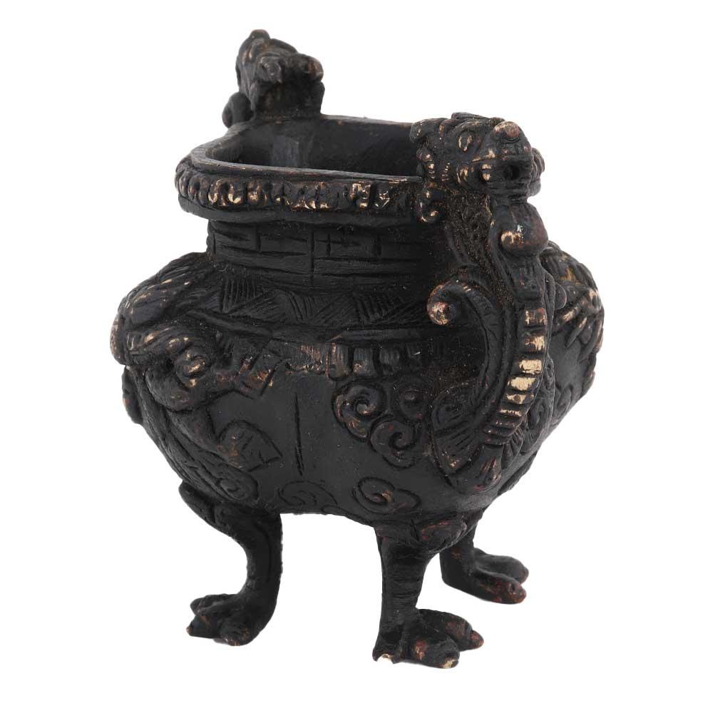 Brass Chinese Design Planter Burner Pot In Black Polish